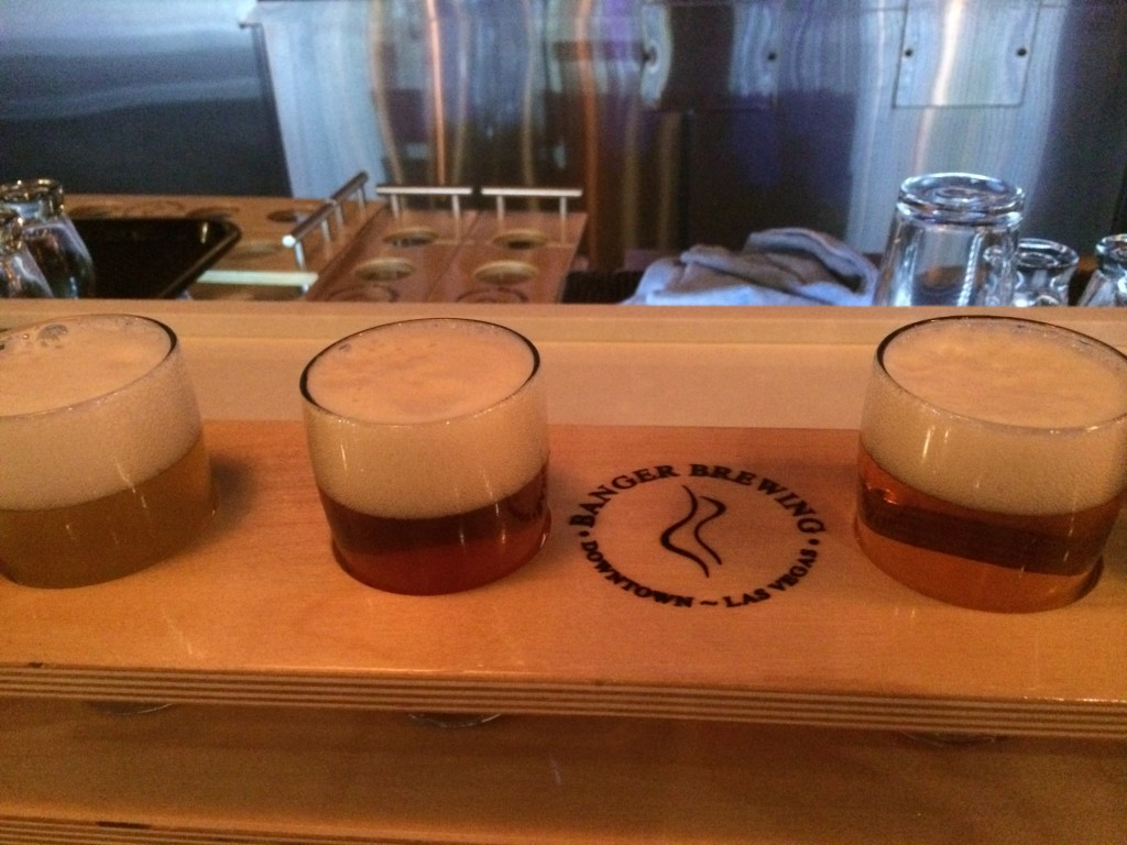 Three of the four beers in the flight. This flight was better than the one from the airport.